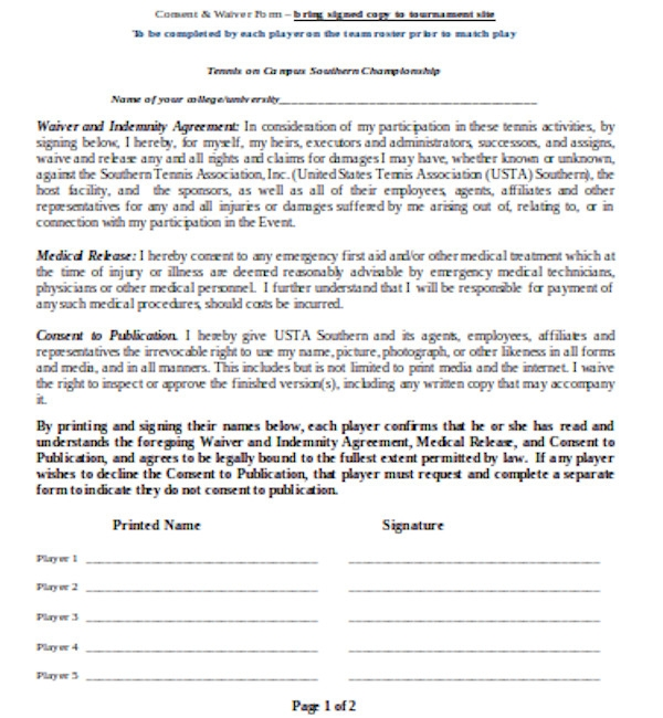 medical consent and waiver form