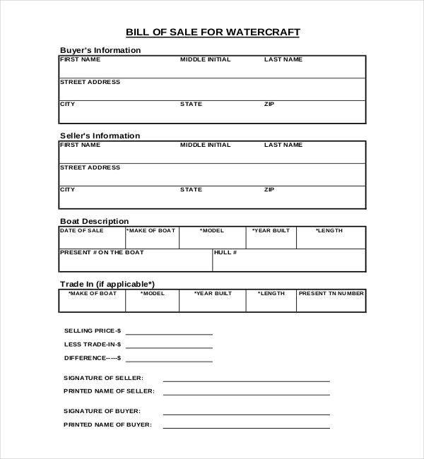 new watercraft bill of sale form