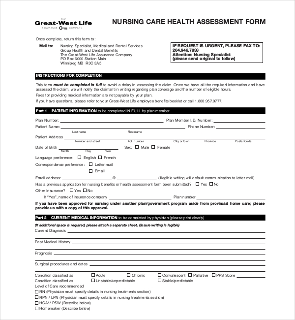 nursing care health assessment form