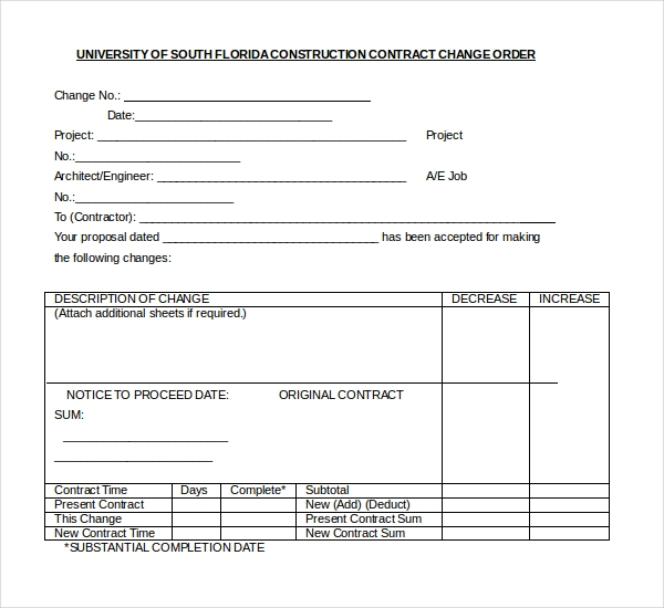 10+ Sample Construction Change Order Forms | Sample Forms