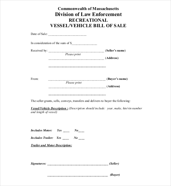 Sample Boat Bill Of Sale Form   Free Documents In  Doc