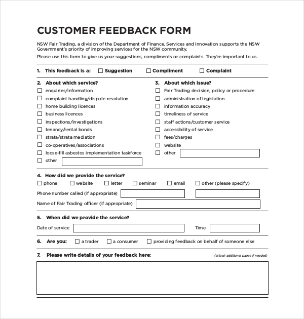 Doc405520 Feedback Form Sample MS Word Printable Customer – Customer Contact Form Template