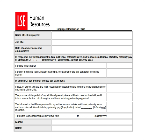 sample employee declaration form download