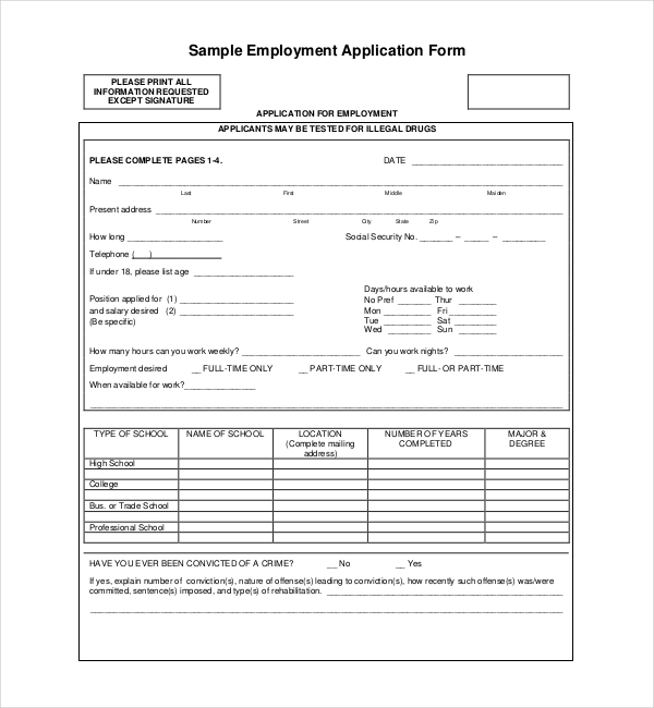 Sample Employment Application Forms 12 Free Documents in PDF Doc – Sample Employment Application