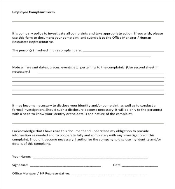 7+ Sample Employee Complaint Forms | Sample Forms