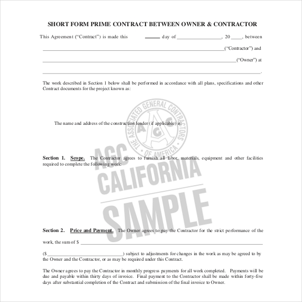 short form prime contract between owner