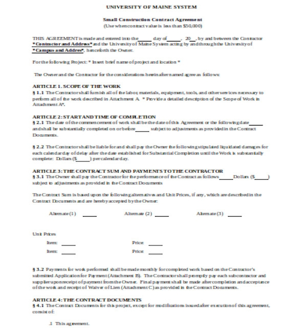 small construction contract form