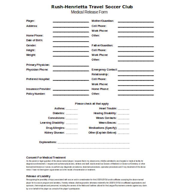 soccer club medical release form