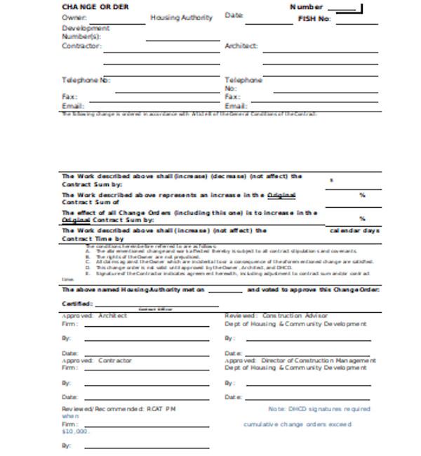 standard construction change order form