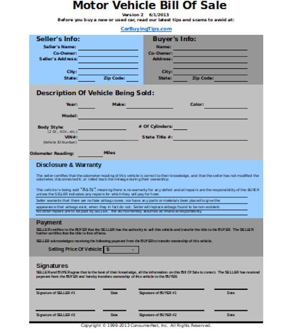 standard dmv bill of sale form
