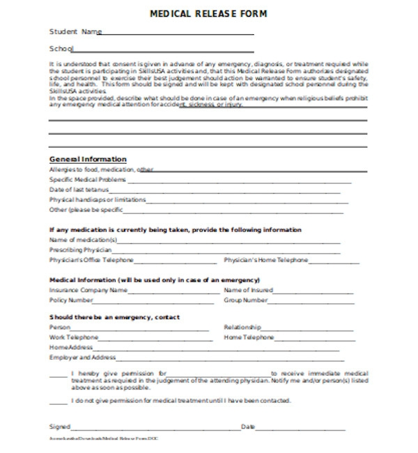 standard medical release form