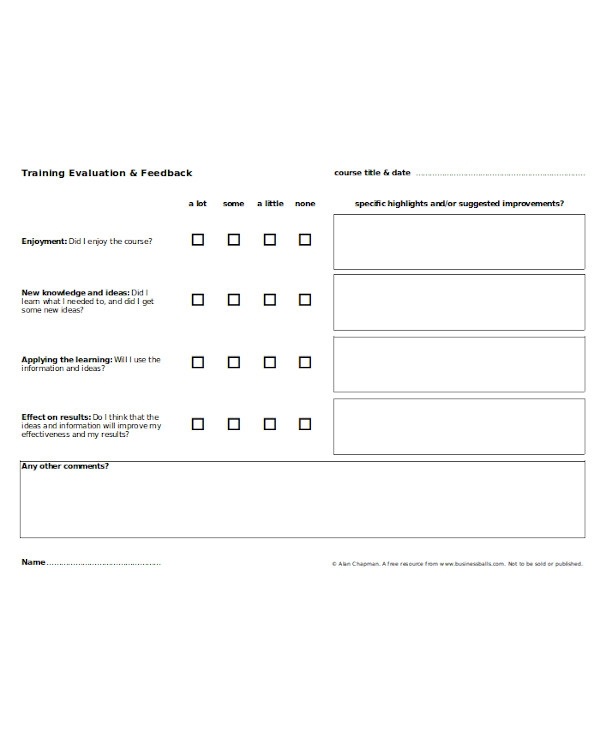standard training feedback form