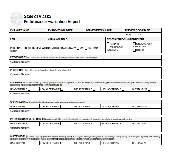 Sample Performance Evaluation Forms  Sample Forms
