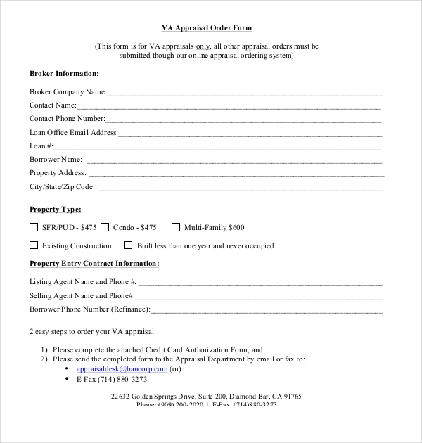 va appraisal order form