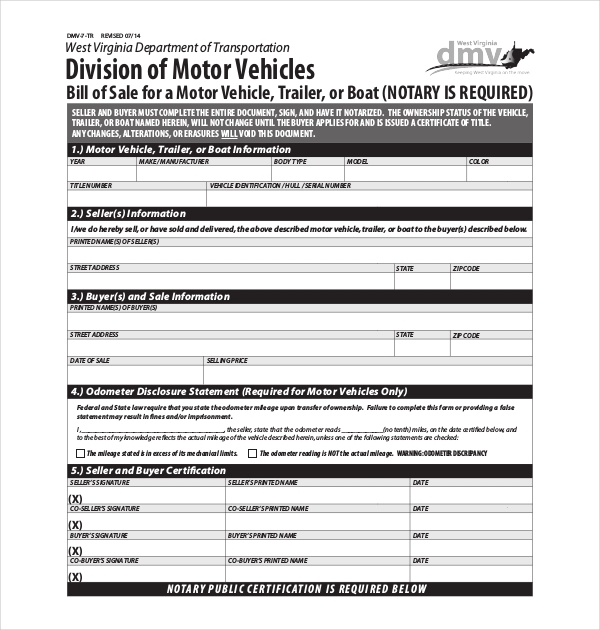 15 sample dmv bill of sale forms sample forms for Virginia motor vehicle department