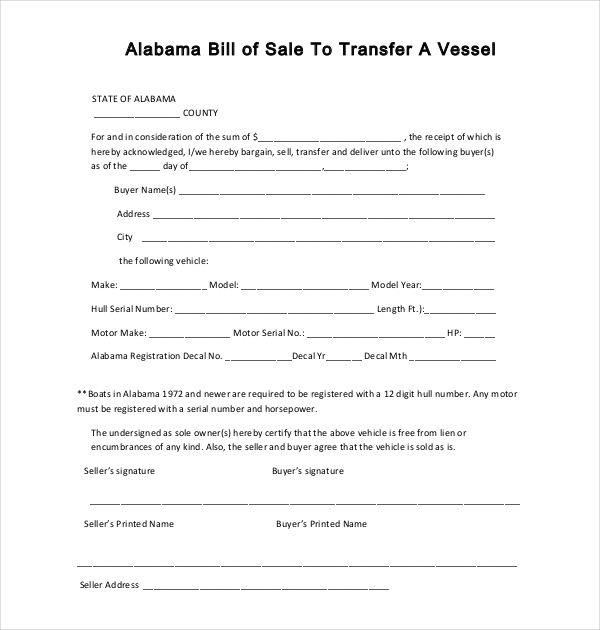 Alabama Boat Bill Of Sale Form  Free Printable Bill Of Sale For Boat