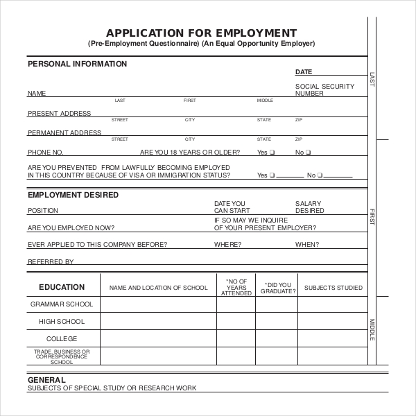Sample Employment Application Forms   Free Documents In Pdf Doc