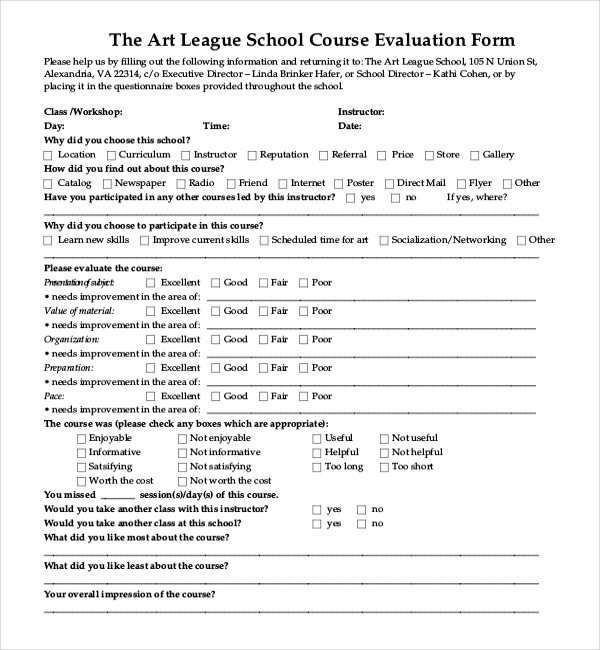 Sample Evaluation Forms Sample Training Evaluation Form Evaluation