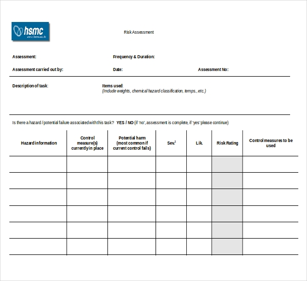 Sample Risk Assessment Forms   Free Documents In Pdf Word