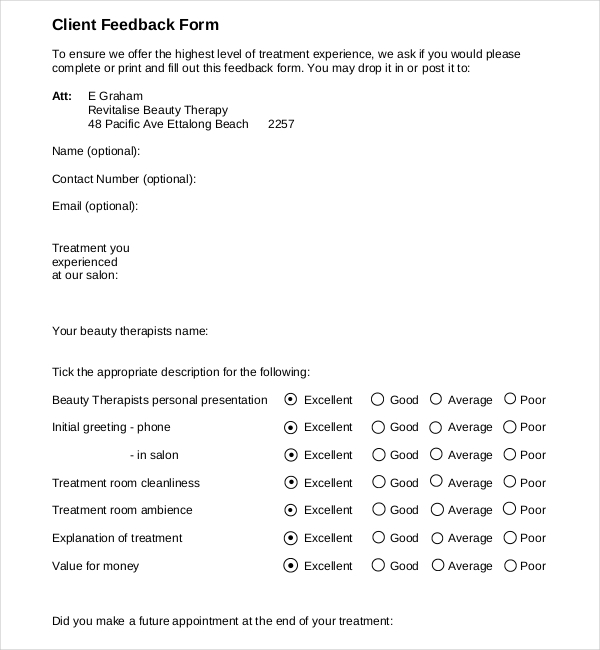Client Feedback Form Counseling Client Feedback Form Sample