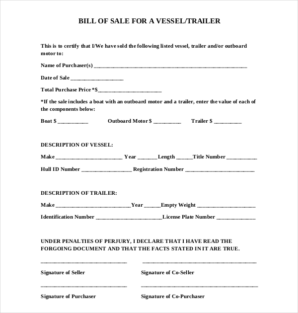 colorado boat bill of sale form