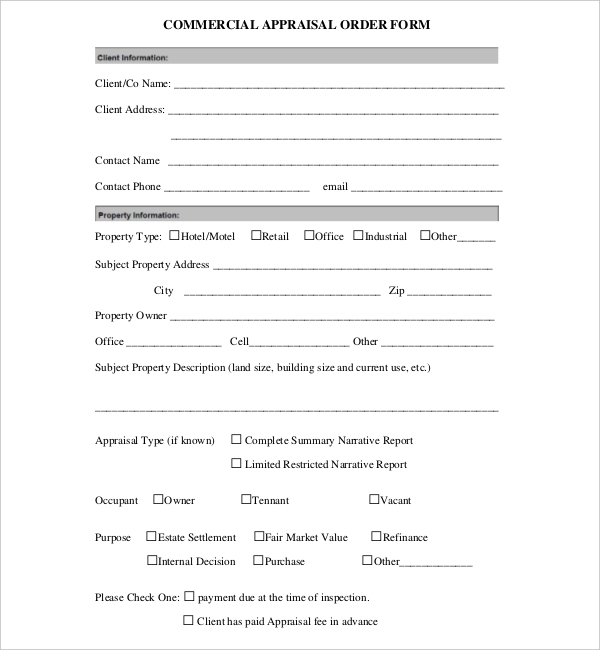 Sample Appraisal Order Forms   Free Documents In Word Pdf