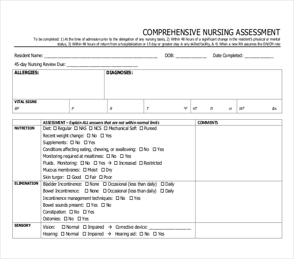 comprehensive nursing assessment form