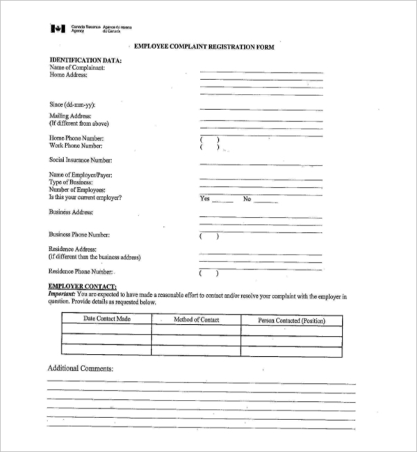 Sample Employee Complaint Forms  Sample Forms