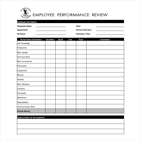 13 sample employee review forms sample forms. Black Bedroom Furniture Sets. Home Design Ideas