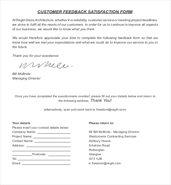 Sample Customer Feedback Form 22 Free Documents in PDF – Customer Contact Form Template