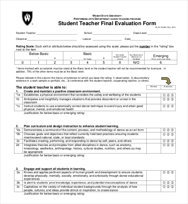 Sample Student Evaluation Forms  Sample Forms