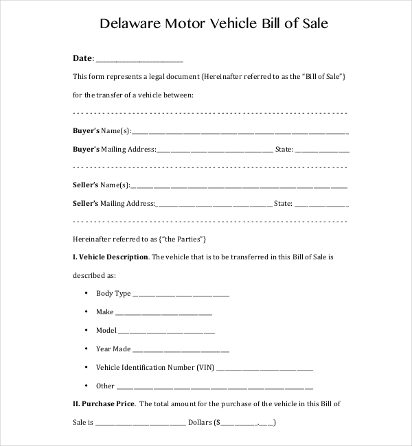 delaware dmv bill of sale form