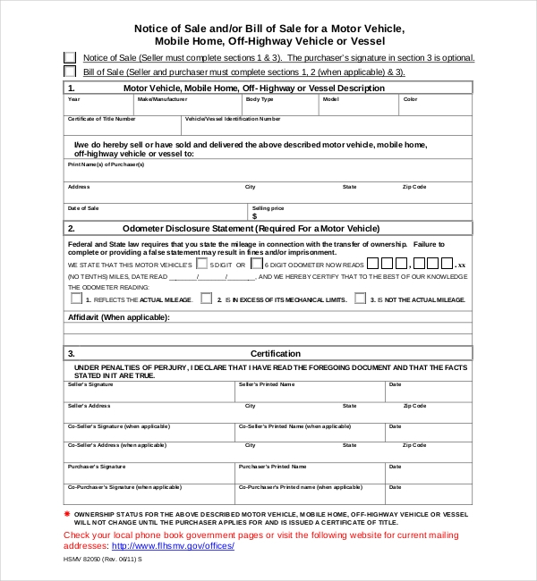 15 sample dmv bill of sale forms sample forms for Florida motor vehicle number
