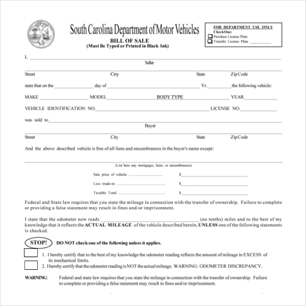 sc bill of sale auto  15  Sample DMV Bill of Sale Forms | Sample Forms