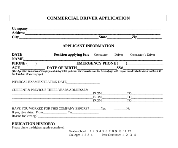 Generic Application For Employment Pdf