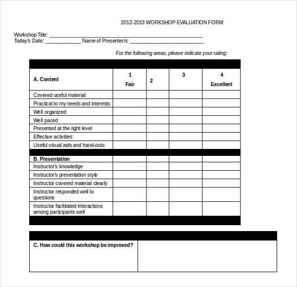 Sample Workshop Evaluation Form Example Pro Sample Training