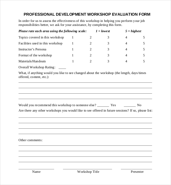 10 Sample Workshop Feedback Form – Workshop Evaluation Forms Sample