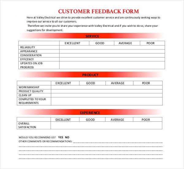 electrical customer feedback form