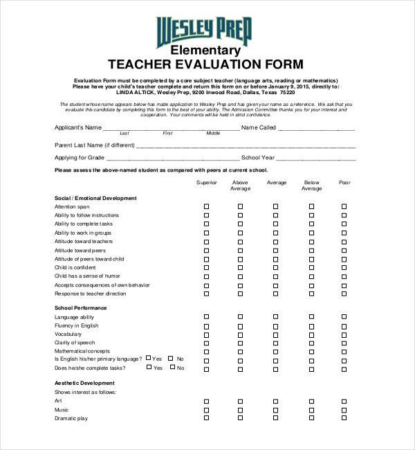 Sample Teacher Evaluation Forms  Sample Forms