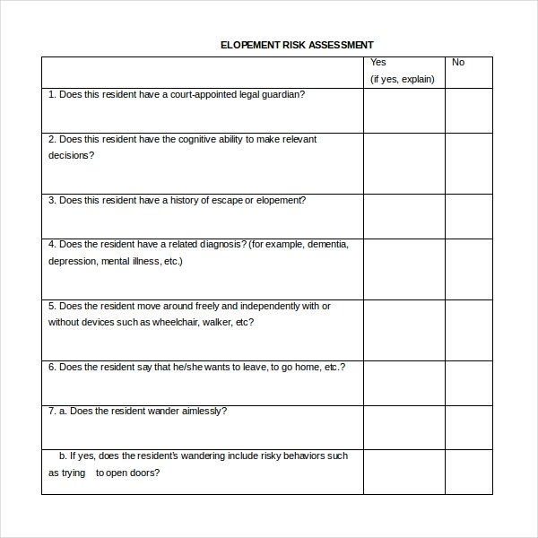 elopement risk assessment form word file