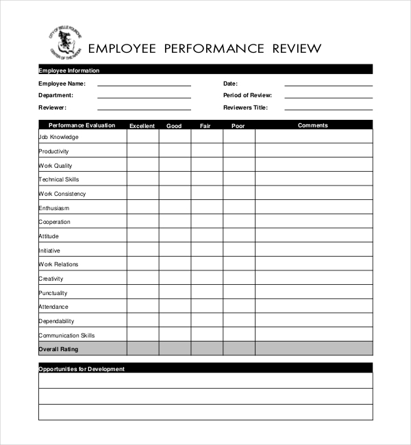 Employee Performance Evaluation Form  Format Of Performance Appraisal Form