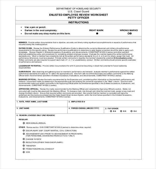 13 Sample Employee Review Forms – Employee Review Forms