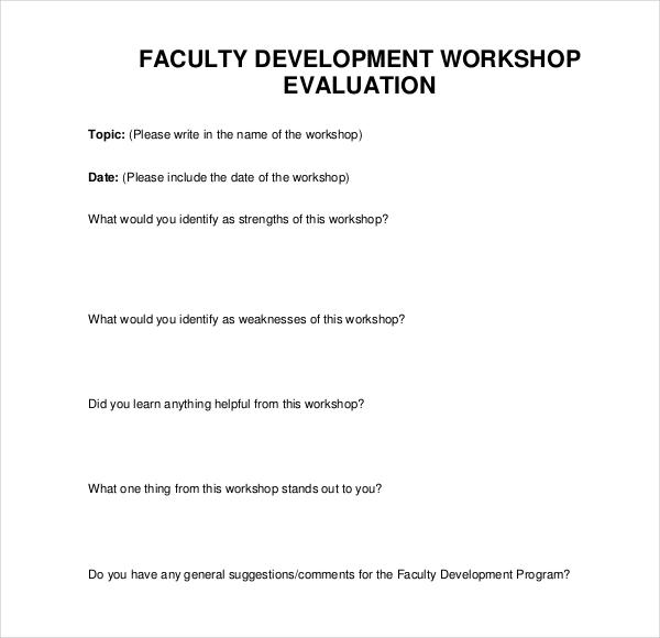 Sample Workshop Evaluation Forms 15 Free Documents in PDF Doc – Workshop Evaluation Forms Sample