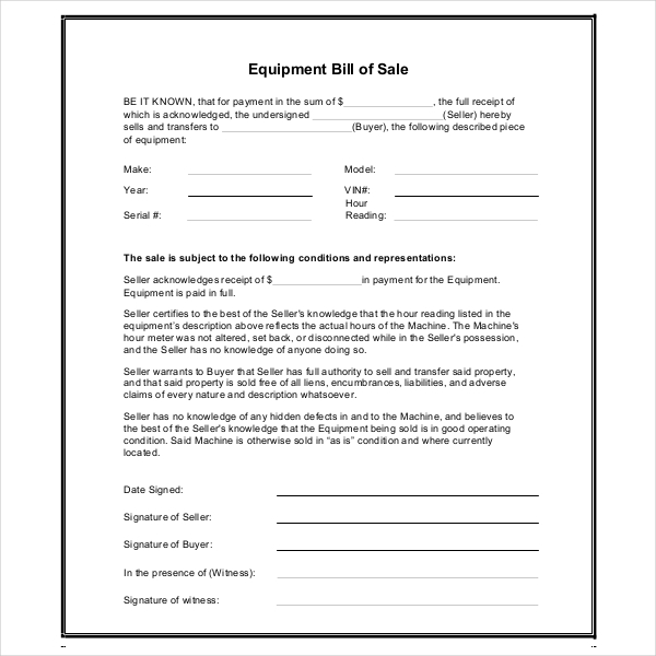 Sample Equipment Bill Of Sale Forms  Sample Forms