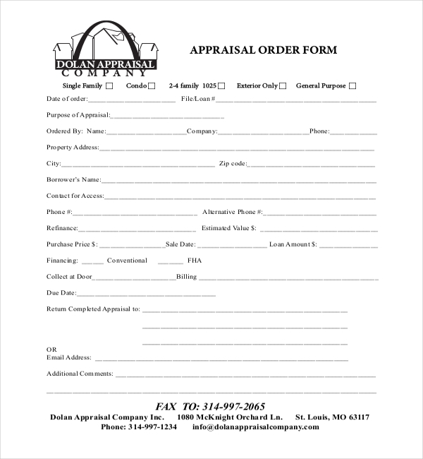 Sample Appraisal Order Forms - 7+ Free Documents In Word, Pdf