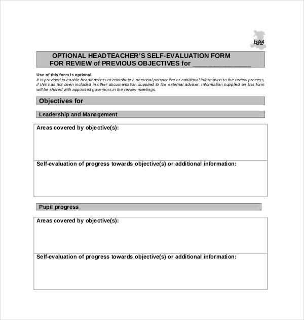 head teacher evaluation form
