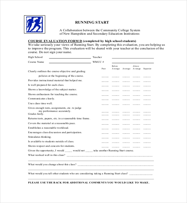 23 Sample Course Evaluation Forms – Sample Course Evaluation Form