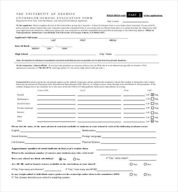 high school student evaluation form