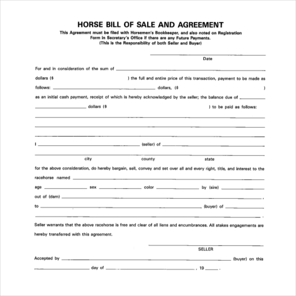 Horse bill of sale with first right of refusal 12 new for Turnkey contract template