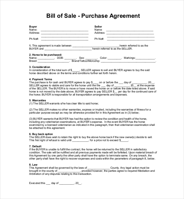 Sample horse bill of sale forms 7 free documents in pdf word horse bill of sale with first right of refusal platinumwayz